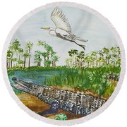 Everglades Critters Round Beach Towel