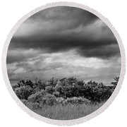 Everglades Storm Bw Round Beach Towel