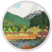 Evergreen Lake Spring Round Beach Towel