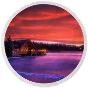 Evergreen Lake Sunrise Round Beach Towel