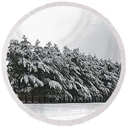 Evergreens In Snow Round Beach Towel by Luther Fine Art