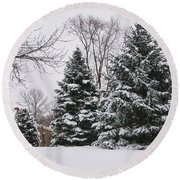 Evergreens In The Snow Round Beach Towel