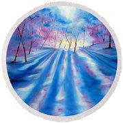Round Beach Towel featuring the painting Evident by Meaghan Troup