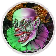 Evil Clown By Spano Round Beach Towel by Michael Spano
