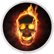 Evil Skull In Flames And Smoke Round Beach Towel