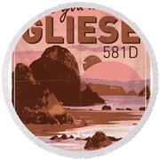 Exoplanet 01 Travel Poster Gliese 581 Round Beach Towel