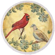 Exotic Bird Floral And Vine 2 Round Beach Towel
