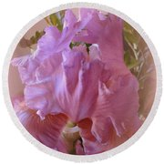 Round Beach Towel featuring the photograph Exotic Iris by Kay Novy