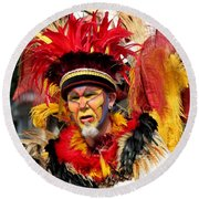 Exotic Painted Face Round Beach Towel