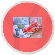 Round Beach Towel featuring the painting Expectation by Jasna Dragun