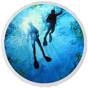 Round Beach Towel featuring the painting Exploring New Worlds by Hanne Lore Koehler