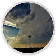 Round Beach Towel featuring the photograph Explosive Texas Supercell by Ed Sweeney