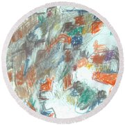 Express Graphic Round Beach Towel by Esther Newman-Cohen