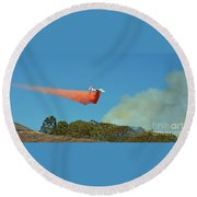 Round Beach Towel featuring the photograph Extinguishing The Fire On San Bruno Mountain Near San Francisco II by Jim Fitzpatrick
