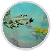 Round Beach Towel featuring the painting Extreme Airline Mergers by Thomas J Herring