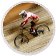 Extreme Downhill Cycling Round Beach Towel