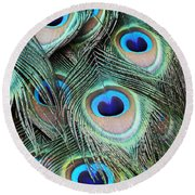 Round Beach Towel featuring the photograph Eye Of The Peacock #2 by Judy Whitton