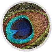 Eye Of The Peacock Round Beach Towel by Judy Whitton