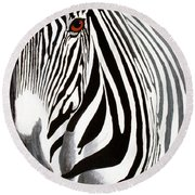 Eye Of The Zebra Round Beach Towel