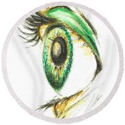 Eye Opener Round Beach Towel by Teresa White