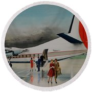F-27 At Columbus Ohio Round Beach Towel by Frank Hunter