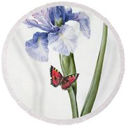 Blue Iris With Butterfly , 1826 Round Beach Towel