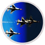 Round Beach Towel featuring the photograph F16 Flight Into Space by DigiArt Diaries by Vicky B Fuller