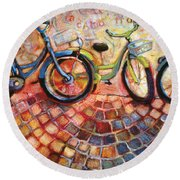 Fa Caldo Troppo Guidare Round Beach Towel by Jen Norton