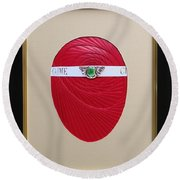 Round Beach Towel featuring the mixed media Faberge Egg 1 by Ron Davidson