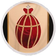 Round Beach Towel featuring the mixed media Faberge Egg 2 by Ron Davidson
