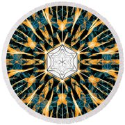 Round Beach Towel featuring the drawing Fabric Of The Universe by Derek Gedney