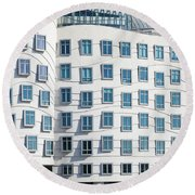 Facade Of Dancing House Or Ginger Round Beach Towel