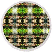 Round Beach Towel featuring the photograph Face In The Stained Glass Tiled by Clayton Bruster
