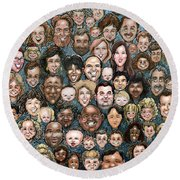 Faces Of Humanity Round Beach Towel