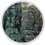 Faces On Prasat Bayon, Angkor Thorn Round Beach Towel