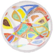 Round Beach Towel featuring the painting Masks by Stormm Bradshaw