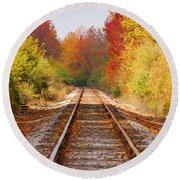 Fading Tracks Round Beach Towel by Mary Carol Story