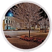 Fairhope Ave With Clock Night Image Round Beach Towel
