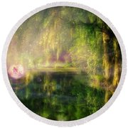 Fairy In Pink Bubble In Serenity Forest Round Beach Towel by Lilia D