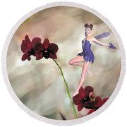 Fairy In The Orchid Garden Round Beach Towel by Rosalie Scanlon