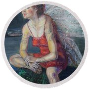 Fairy On A Stone Round Beach Towel
