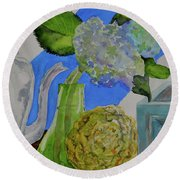 Round Beach Towel featuring the painting Fairy Soda Fine Crackers by Beverley Harper Tinsley