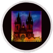 Fairy Tale Castle Prague Round Beach Towel