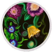 Fairy Tale Flowers Round Beach Towel