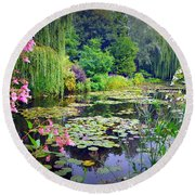 Fairy Tale Pond With Water Lilies And Willow Trees Round Beach Towel