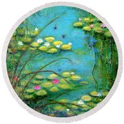 Fairy Tale Water Lilies Pond Round Beach Towel