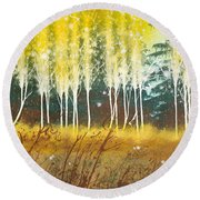 Fairy Trees Round Beach Towel
