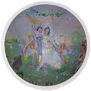 Round Beach Towel featuring the painting Fairy Wedding by Judith Desrosiers