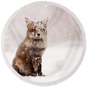 Fairytale Fox _ Red Fox In A Snow Storm Round Beach Towel