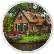 Fairytale House. Giethoorn. Venice Of The North Round Beach Towel by Jenny Rainbow
